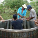 Building a rainwater tank at La Montanita agroecological farm in Nicaragua